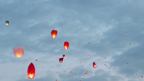 flying chinese lanterns Stock Video Footage