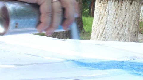 painting with spray can Footage