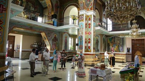 Christian chirch, Ukraine. Inside. People Footage