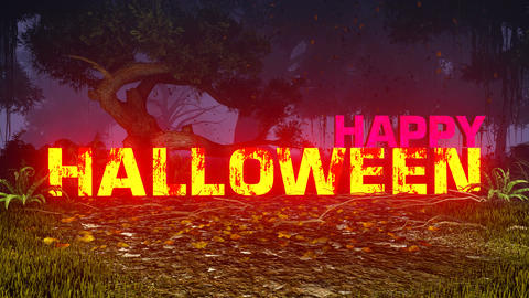 Glowing Happy Halloween text in a dark forest Animation
