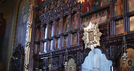 Church. Chernivtsy, Ukraine. Iconostasis stock footage