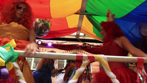 Birmingham Gay Pride - Cinderella And Two Ugly Sisters stock footage