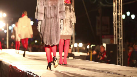 Beautiful Models Fashion Show. No Focus stock footage