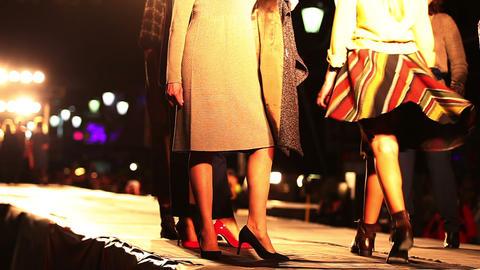 Catwalk Model High Fashion Show. No Focus Live Action
