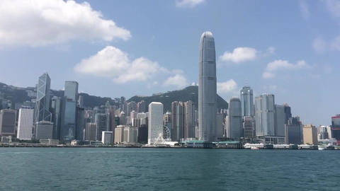 HONG KONG IFC TOWER VIEW FROM THE WATER stock footage