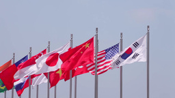 National Flags In Asia stock footage