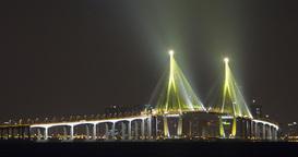 Incheon Bridge At Night In South Korea, Timelapse stock footage
