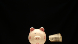 Shooting arrow to the dollar on piggy bank Footage