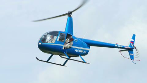 Helicopter Robinson R-44 before landing Footage