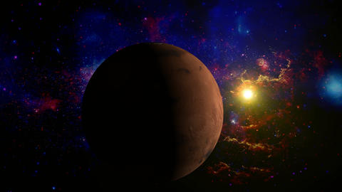 Planet Mars Rotating In Space Without Lens Objects stock footage