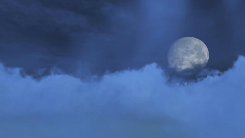 Fantastic big full moon obscured by clouds Stock Video Footage