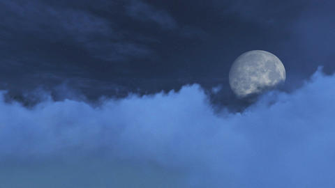 Fantastic big full moon obscured by clouds Footage