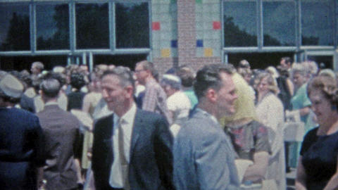 HARTFORD, CONN. 1967: High school graduation outside celebration Footage