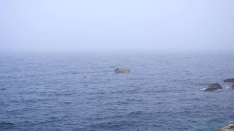 Fog On The Sea And A Man In A Boat stock footage