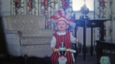 TOLEDO, OHIO 1968: Halloween kid raiders native american headdress costume Footage