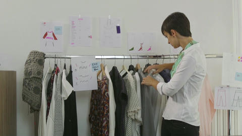 Business Clothing Industry Manager Woman Businesswoman Designer Preparing Fashio Footage