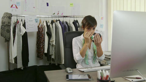Female Beauty With Businesswoman Woman Manager Applying Make up In Office Footage