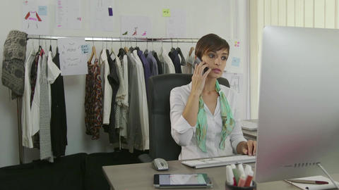 Relax In Office With Female Manager Businesswoman Using Nails File Footage