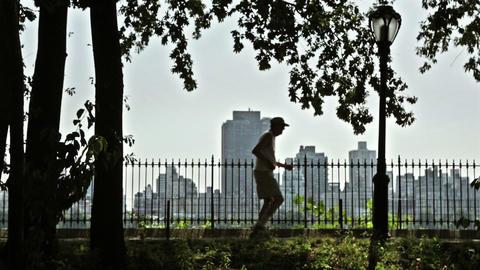 Senior man jogging Footage