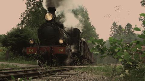 Vintage steam locomotive passing by Footage