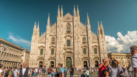 People at the square in front of Milan Cathedral Footage