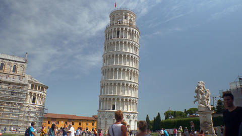 Tilt down on leaning tower of Pisa Footage