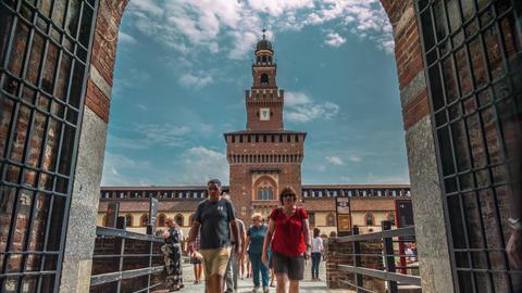 Sforza Castle in Milan Footage