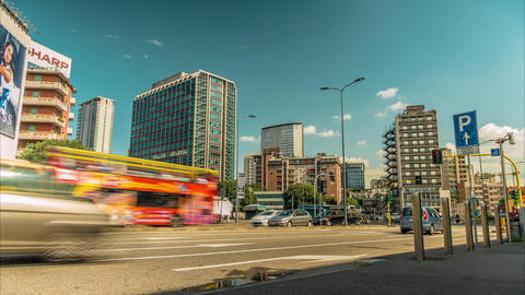 Rush Hour Traffic Moves Along A Busy Street At A Major City stock footage