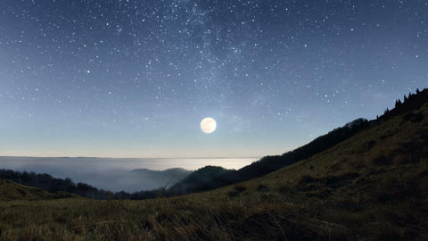 Starry night in the mountains Footage