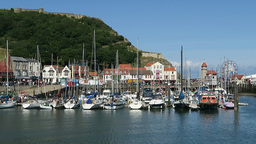 Scarborough Boats In Harbour stock footage