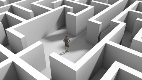 Businesswoman standing in middle of maze Animation