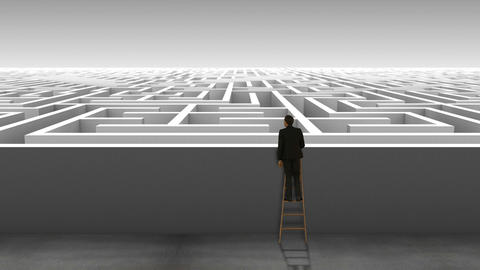 Businessman on ladder looking at maze Animation