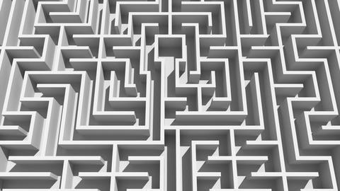 Overhead shot of complicated maze Animation