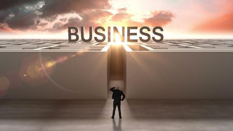 Businessman at entrance of maze Animation