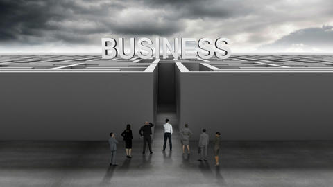 Business people at entrance of maze Animation
