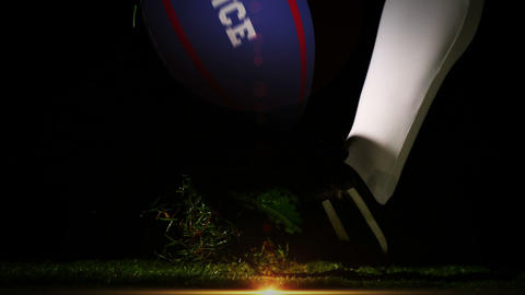 Player kicking france rugby ball Animation
