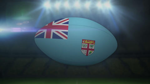 Fiji rugby ball in stadium with flashing lights Animation