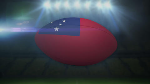 Samoa rugby ball in stadium with flashing lights Animation