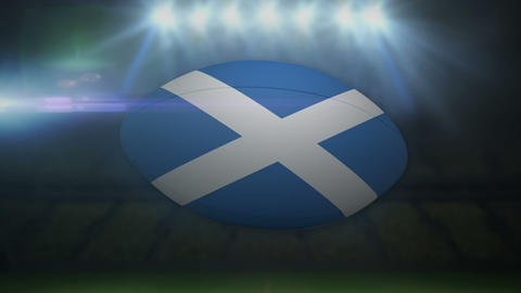 Scotland rugby ball in stadium with flashing lights Animation
