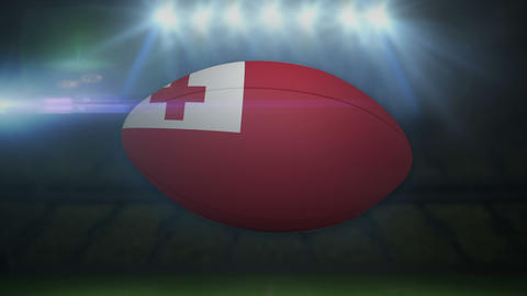 Tonga rugby ball in stadium with flashing lights Animation