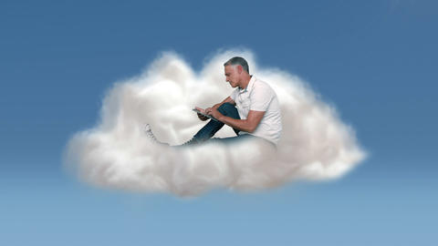 Casual man using tablet in cloud Animation