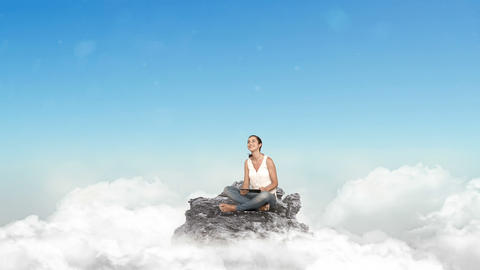 Casual woman using tablet in the clouds Animation