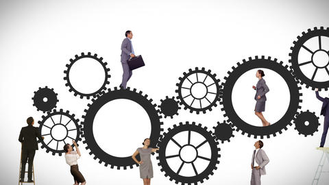 Business people running and turning cogs Animation
