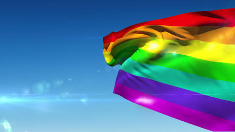 Rainbow flag blowing in the breeze Animation
