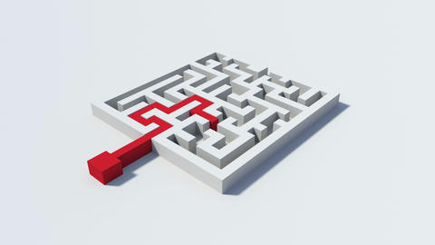 Red line solving a maze puzzle Animation