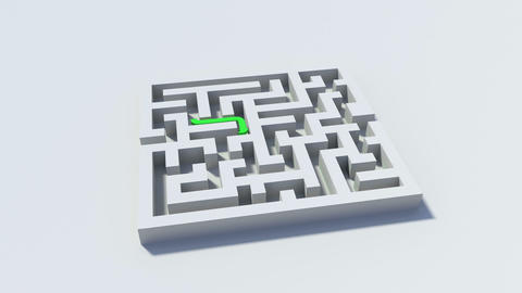 View of a green line going through a maze Animation