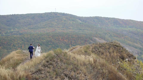 The bride and groom are on the mountain Footage