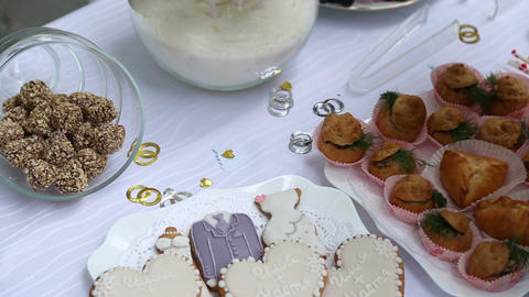 Candy-bar At The Wedding stock footage