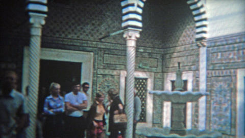 RABAT, MOROCCO 1972: Inside blue tile work of a Moroccan mosque tourism site Footage