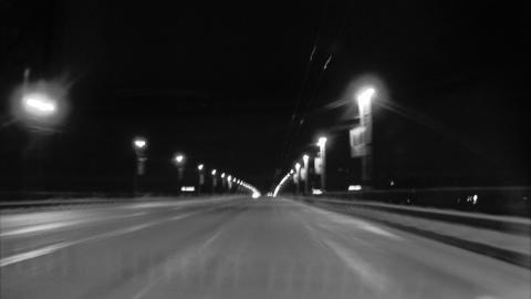 Night ride. Across bridge Footage